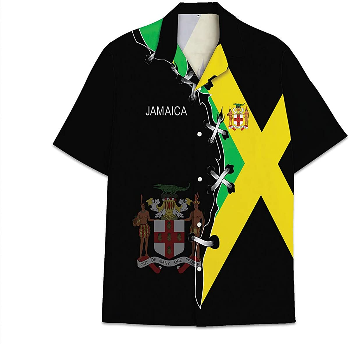 TeeMix National Jamaica Flag Hawaiian Shirt Funny Aloha Unisex Beach Shirts Short Sleeve