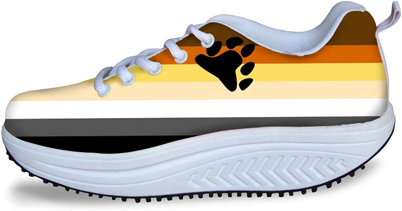 Owaheson Swing Platform Toning Fitness Casual Walking shoes Wedge Sneaker Women Bear Bredherhood Pride Flag