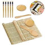 Sushi Set, 11 Stück Sushi Maker Set - Sushi Selbst Machen Bambus Sushi Matte Sushi Maker Set für Anfänger, 2 Rollmatten 5 Paar Essstäbchen 1 Reisstreuer 1 Paddy Paddel 2 Serviertablett