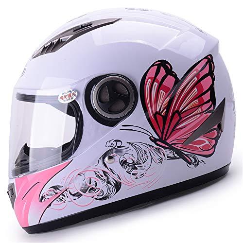 Vier Jahreszeiten Elektro Motorrad Helm Voller Helm Helm Mann Mit Winter Lätzchen Motorrad Helm Rosa Schmetterling Mit Anti-Fog-objektiv (Color : A)
