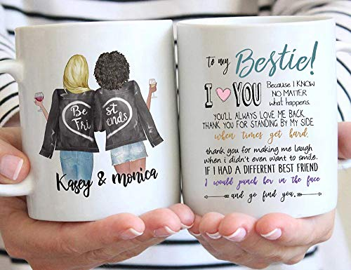 Custom Best Friend Coffee Mug for Women - Choose Hair Skin Color -Personalized Best Friend Mug Cup w Names for Besties, Bff, Good Friends Birthday - Galentines Day Gifts 11 Oz