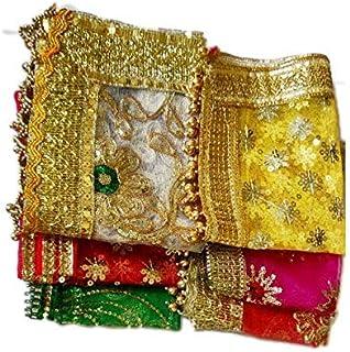 Prisma Collections Golden Lace and latkan net Fabric Attractive Chunri for MATA Rani, 32x24 cm, Multicolour -Set of 6