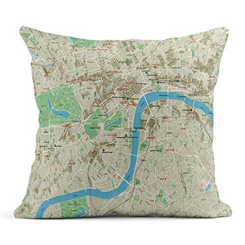 Kinhevao Cojín Brown Street Mapa de la Ciudad de Londres Capas separadas Bien organizadas Cojín de Lino Green Baker Gran Bretaña Almohada Decorativa para el hogar