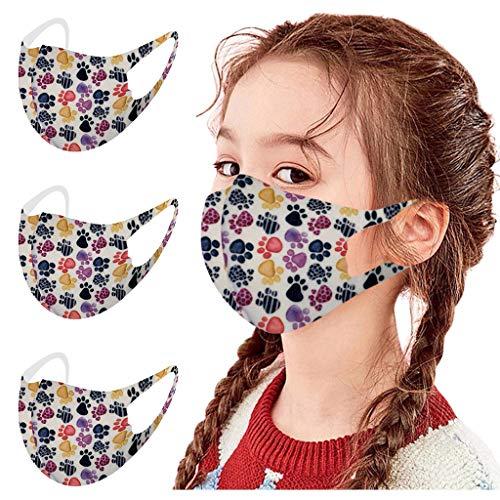 Hanomes 3 Stück Mundschutz Kinder mit Motiv Waschbar Wiederverwendbar Sommer Seide Coole Atmungsaktive Mund und Nasenschutz Halstuch Bandana für Children Jungen und Mädchen