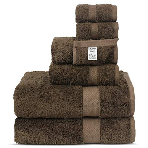 Chakir Turkish Linens Luxury Ultra Soft Bamboo 6-Piece Towel Set - Soft, Absorbent and Eco-Friendly (Gray)
