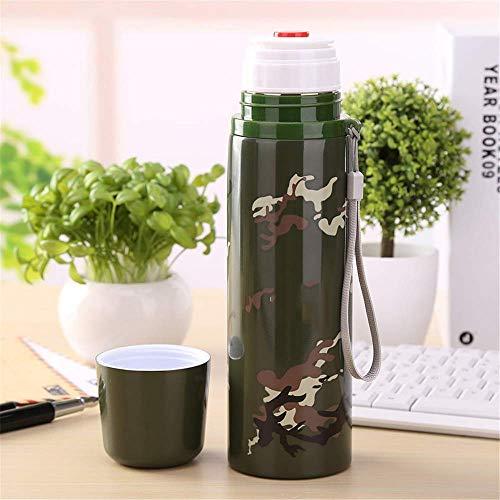 CXHMYC 500ML Army Green Camouflage Isolierflasche aus Edelstahl für tragbare Sportthermosflasche im Freien