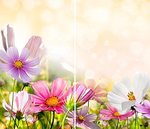 DAMU |Ceranfeldabdeckung 2 Teilig 2x30x52 cm Herdabdeckplatten Blumen Elektroherd Induktion Herdschutz Spritzschutz Glasplatte Schneidebrett Pink Natur