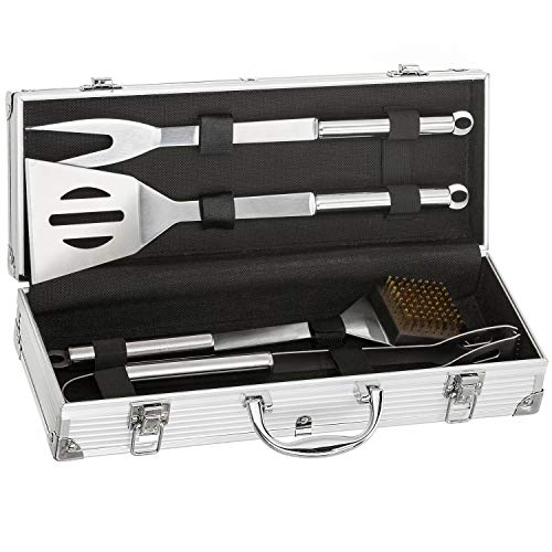 Edelstahl Profi Grillbesteck-Set 5-teilig Grill-Koffer BBQ