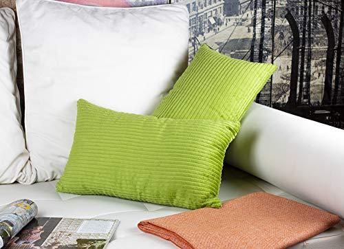 2 Fundas Cojines 30 x 50 cm, Cojines Pana Color Verde. Cojín Terciopelo suave a rayas, Hecho en España (panancha-ver-l-30x50)