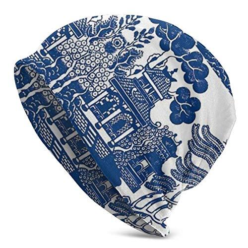 Blue Gazebo Landscape Painting Women Men Beanie Hat Soft Baggy Oversized Skull Cap Knit Hat