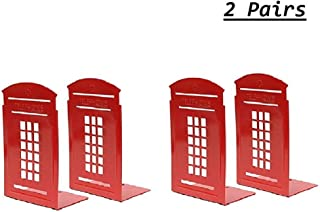 MerryNine Bookends Red, 2 Pair Heavy Metal Non Skid Sturdy Telephone Booth Decorative Gift for Bookshelf Office School Library (London-Red)