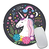 Smooffly Round Gaming Mouse Pad Custom Design, Unicorn Dreams Circular Mousepad Non-Slip Rubber Mouse Pads Cute Mat