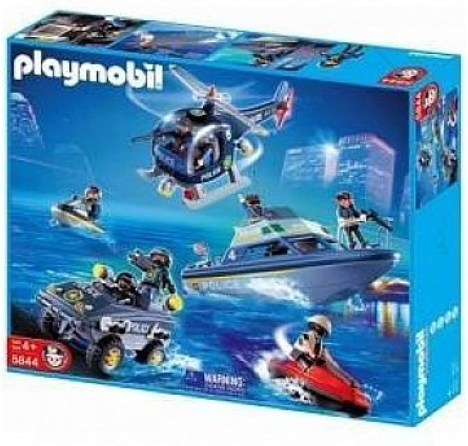 Playmobil 5844 POLICE Playset with Helicopter, Boat, 2 Jetskis and Jeep by Playmobile