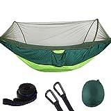 LCTS Hamaca para Acampar con mosquitera, Tela para paracaídas Hamaca Doble Tienda aérea Hamaca Plegable portátil Adecuada para Viajes Playa de Camping,3