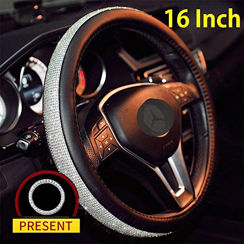 16 in Steering Wheel Cover Bling Truck Steering Wheel Cover Women with 1x Bling Ring Accessories