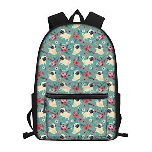 NDISTIN Adroable Green Pet Dog Pug School Day Backpack for Kid Girls Boys Animals Desgin Lightweight Durbale Bookbag Children Best Gifts Women's Laptop Travel Shoulder Bag Fashion Satchel Rucksack