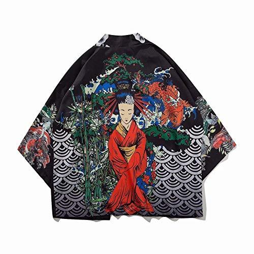 Traje De Cosplay Kimono Yukata Mujeres Japón Kimono Tradicional De Harajuku De La Carpa De Trazo Fino Kimono Camisa Cardigan Femme Libre De La Blusa Zzzb (Color, Size : M)