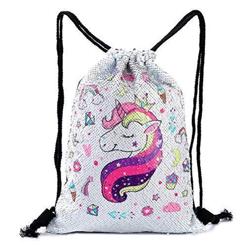 WBTY Unicorn Bag Reversible Sequin Drawstring Bag Sparkly Gym Dance Backpack for Women Girls Outdoors Travel Bag