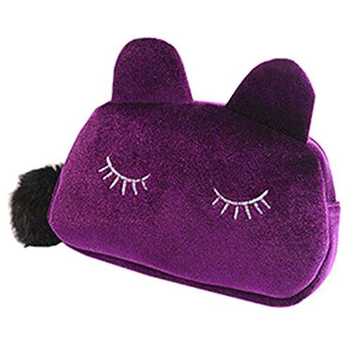 Haodou - Trousse de toilette en flanelle - Pour femme - Motif chat mignon - Avec fermeture Éclair - 19 x 12 x 5 cm - Rose