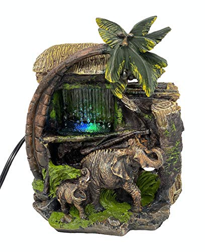 ImagiWonder Tabletop Water Fountain Elephants Near Palm Tree and Tiki Hut