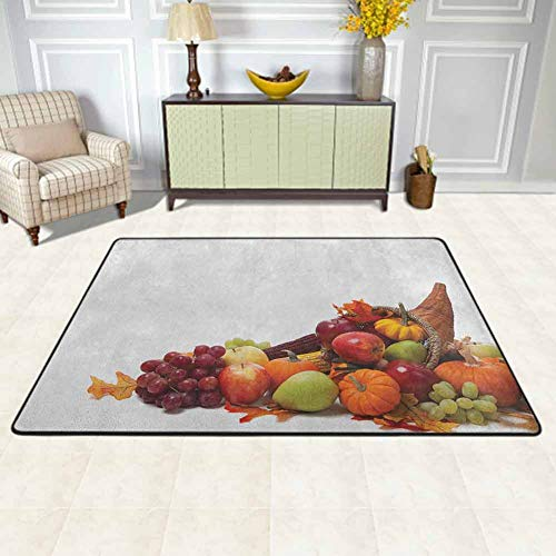 Harvest Area Rugs Large Carpet Fall Arrangement with Fruits of The Season in a Cornucopia Bountiful Harvest Corn Kitchen Rugs and mats Multicolor for Living Dining Dorm Playing Room Bedroom 5'x7'