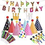 colmanda Gorros de Fiesta, 36 Piezas Juego de Decoración de Cumpleaños, Gorros Cono de La Fiesta de Cumpleaños Sombreros de Fiesta Con Poms Corona, Fiesta Divertida Sombrero para Cumpleaños Cabritos