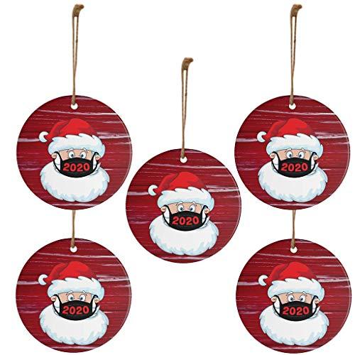 Gpure 5PC Colgante Navideño De Madera 2020 Árbol de Navidad Decoración Christmas Chimenea Decoración Hogar Elementos Navideños Papá Noel Dulces De Regalo Bolsa Y Adornos con Cordón