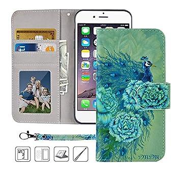 iPhone 6 Plus case,iPhone 6s Plus Wallet Case,MagicSky Premium PU Leather Flip Folio Case Cover with Wrist Strap,Card Holder,Cash Pocket,Kickstand for Apple iPhone 6S Plus/iPhone 6 Plus Green Peacock