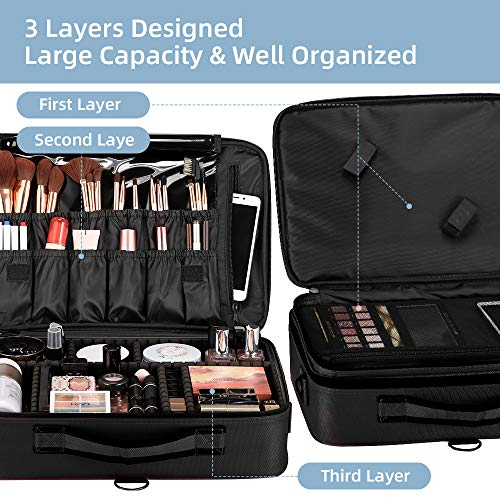 51+wWtlxruL - GZCZ 3 Layers Large Capacity Travel Professional Makeup Train Case Cosmetic Brush Organizer Portable Artist Storage bag 16.5 inches with Adjustable Dividers and shoulder strap for Make up Accessories