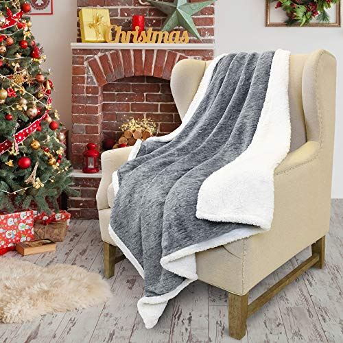 "Tirrinia Sherpa Throw Blanket Snow 50"" x 60"", Super Soft Micro Fleece Plush Bed Throw TV Blanket Reversible"