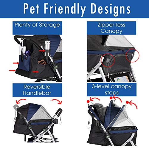 HPZ Pet Rover Premium Heavy Duty Dog/Cat/Pet Stroller Travel Carriage With Convertible Compartment/Zipperless Entry/Reversible Handle/Pump-Free Rubber Tires for Small, Medium, Large Pets-Midnight Blue