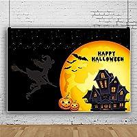 Qinunipoto 1.5mx1m 背景布 ハロウィン happy halloween 月 城 コウモリ 背景 子供写真 大人写真 ビデオ 生放送背景 Youtube ハロウィンパーティー 装飾