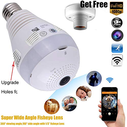 Best Buy! Wireless 1080P Bulb Camera 360 Degree Panoramic Led WiFi Fish Eye Security IP Micro Cam Li...