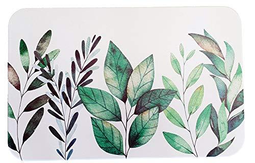 ouest-balneo Tapis de Bain diatomite imprimé antidérapant écologique feuillages 60 x 40 x 1 cm