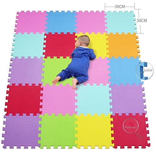qqpp Alfombra Puzzle para Niños Bebe Infantil - Suelo de Goma EVA Suave. 20 Piezas (30 * 30 * 0.9cm), Naranja,Rosa,Amarillo,Azul,Verde,Rojo,Morado. QQC-BCEGHIKa20N