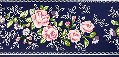 Dundee Deco MGAZBD2099 - Rotolo di carta da parati autoadesiva con motivo floreale rosa, fiori viola su vite, 10 x 10 cm