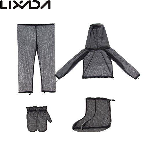 Lixada Traje Anti-Mosquito Conjunto Ligero Unisexo con Malla Ultra-Fina Chaqueta+ Mitones+ Pantalones+ Calcetines