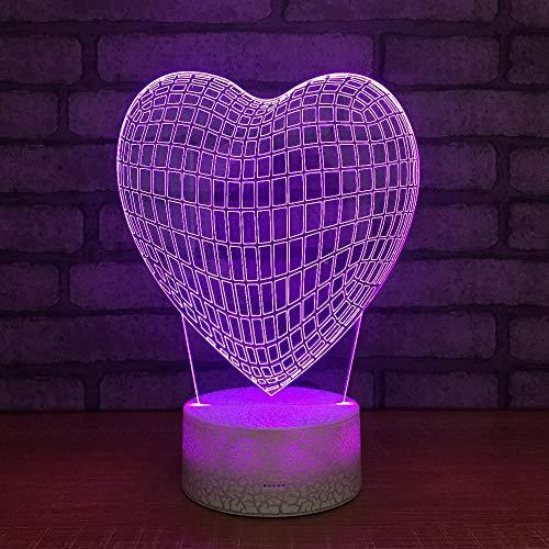 Dulce Amante Led 3D Con Forma De Globo De Corazón Lámpara Decorativa Romántica Colorida 3D Luz Nocturna Regalo Para Novia Amigo Niños