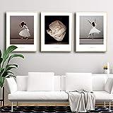 ZYQYQ Bilder Wandkunst Nordic Ballett Fotografie Ballerinas Leinwand Malerei Moderne Poster Druck Bilder für Wohnzimmer Dekoration 40x60cmx3 Kein Eingerahmt