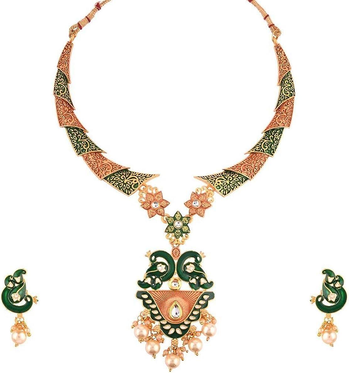 Efulgenz Indian Jewelry Antique Enamel Kundan Crystal Choker Necklace Drop Earrings Bollywood Wedding Jewelry Set