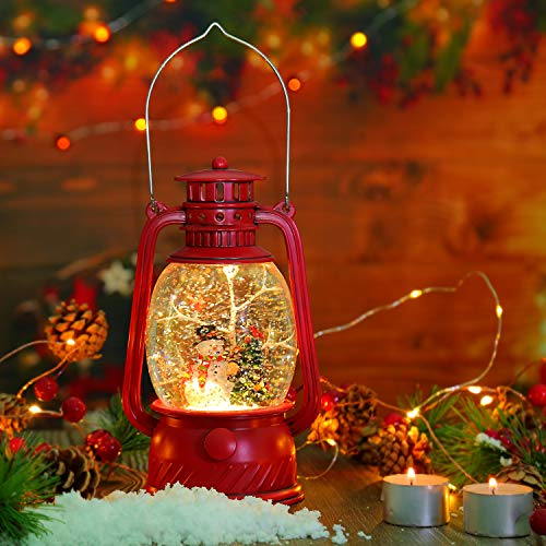 CaiFang Christmas Snow Globes Lantern, Red Xmas Snowglobe USB/Battery Operated(Not Included) with 6 Hours Timer, Glittering Horse Water Lantern Within Snowmans