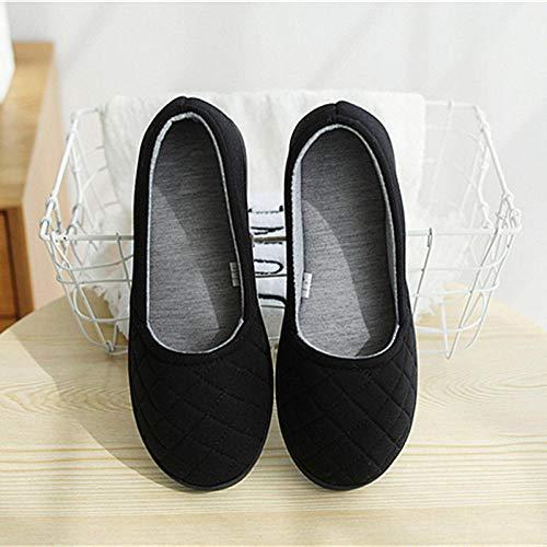 B/H Sandalias para Mujer,Zapatos de Mes Transpirables 100% algodón, Pantuflas Impermeables con tacón de Bolso-Negro_M (37-38),Zapatillas Que absorben