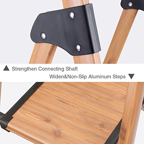 Delxo Lightweight Aluminum Woodgrain 3 Step Ladder Folding Step Stool Stepladders Home and Kitchen Step Ladder Anti-Slip Sturdy and Wide Pedal Ladders 330lbs Capacity Space Saving (3 feet)