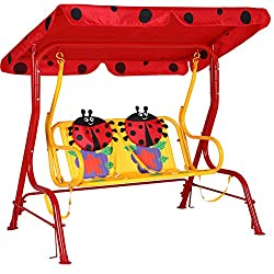 Hollywoodschaukel Kinder Beetle Marienkäfer rot Kinderschaukel 2 Sitzer Gartenschaukel Garten