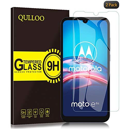 QULLOO Panzerglas für Motorola Moto E6s, 9H Hartglas Schutzfolie HD Displayschutzfolie Anti-Kratzen Panzerglasfolie Handy Glas Folie für Motorola Moto E6s