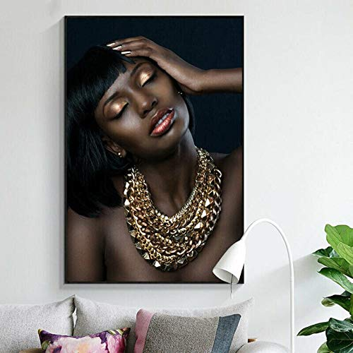 JAFIEG DIY Diamond Painting Full Round Diamond Embroidery Nude African Women Gold Girl Necklace Portrait Cross Stitch Home DecorZP-256330 * 40cm