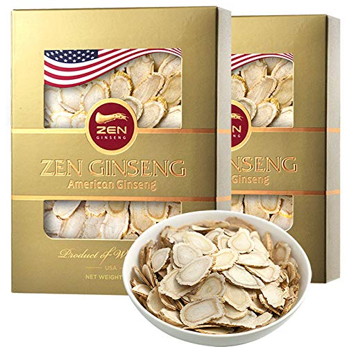 Special Deal — Hand Selected TOP Quality American Wisconsin Ginseng Slice (4oz/Box, Total 2 Boxes) Boosts Immune Support & Energy, Performance & Mental Health for Men & Women. by Zen Ginseng USA