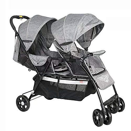 Baby Car Poussette Double pour Poussette Pliante Orientation sans Poids léger Peut s'allonger à l'avant et à l'arrière du siège à Plat,Gray
