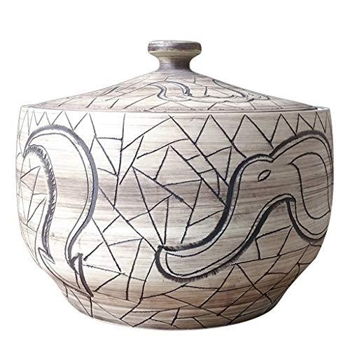 Fantastic Deal! Ceramic Art Rice Cylinder Decorative Storage Box With Lid Grain Cylinder Household Rice Barrel Sealed 20 Kg 40 Kg Food Dispensers (Color : Brown, Size : 323228cm)