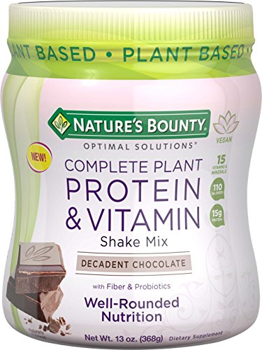 Complete Plant Protein & Vitamin Shake Mix by Nature's Bounty Optimal Solutions, with Fiber and Probiotics, Plant Based, Decadent Chocolate, 13 Oz